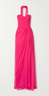 Strapless draped silk-chiffon gown