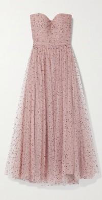 Strapless flocked tulle midi dress