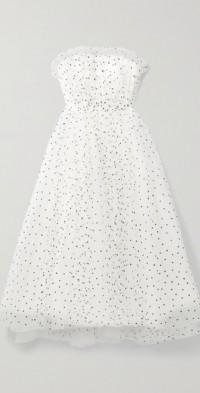 Strapless glittered tulle dress