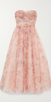 Strapless metallic floral-print tulle gown