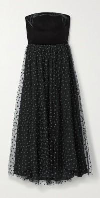 Strapless velvet and polka-dot tulle midi dress