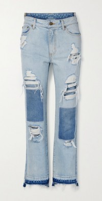 Distressed patchwork high-rise straight-leg jeans