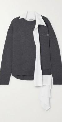 Layered asymmetric cotton-blend and merino wool sweater