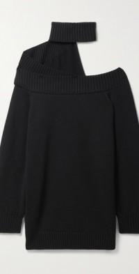 Off-the-shoulder merino wool turtleneck mini dress