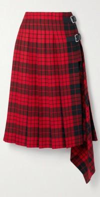 Pleated tartan wool midi skirt