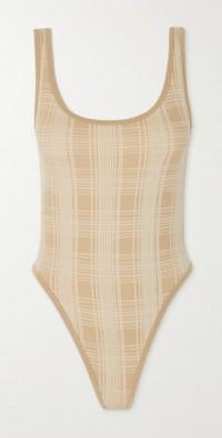 + NET SUSTAIN checked merino wool-blend bodysuit