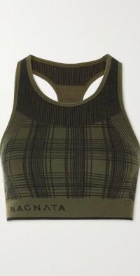 + NET SUSTAIN checked merino wool-blend sports bra