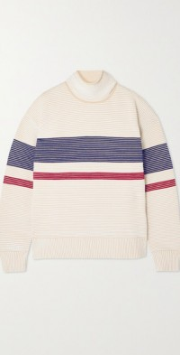 + NET SUSTAIN Sama Retro striped ribbed organic cotton sweatshirt