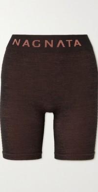 + NET SUSTAIN Suki striped merino wool-blend shorts