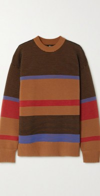 Lucid striped ribbed organic cotton sweater