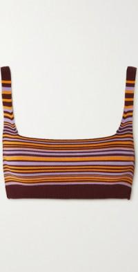 Lucid striped stretch organic cotton sports bra