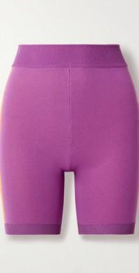 Triad Bodhi striped technical-knit organic cotton-blend shorts