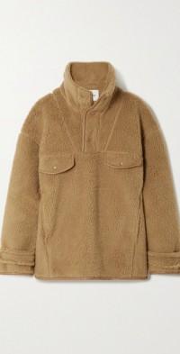 Falon vegan leather-trimmed fleece sweater
