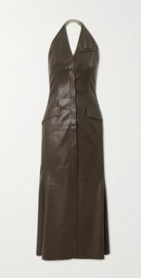 Massey vegan leather halterneck midi dress
