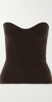 Meo strapless wool-blend bouclé top