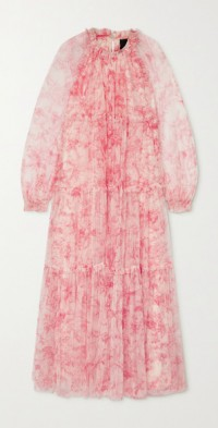 Toile De Jouy tiered ruffled floral-print tulle maxi dress