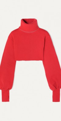 Distressed cropped ribbed-knit turtleneck sweater
