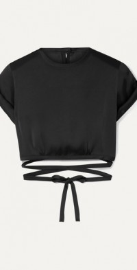 Le Club cropped satin top