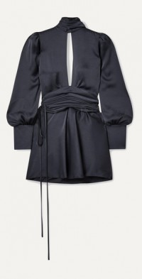Night Out open-back cutout ruched satin wrap mini dress