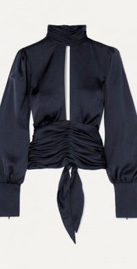 Night Out open-back ruched satin blouse