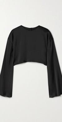 Reversible cropped frayed satin blouse