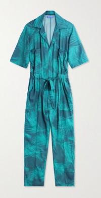 Apres belted printed voile jumpsuit