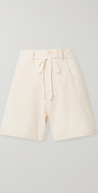 Calvin belted cotton-crepe shorts