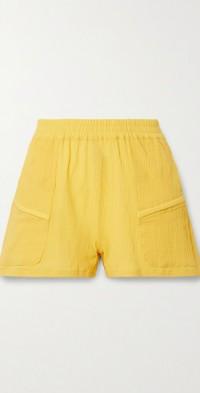 Prim crinkled cotton-gauze shorts