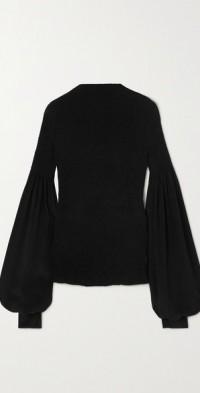 Aeyrin shirred silk-chiffon top