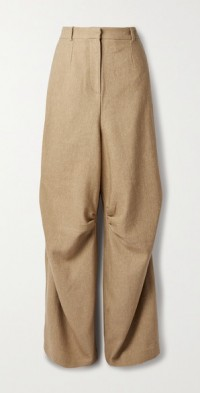 Giles ruched wool and linen-blend twill wide-leg pants