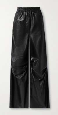 Gines ruched leather wide-leg pants