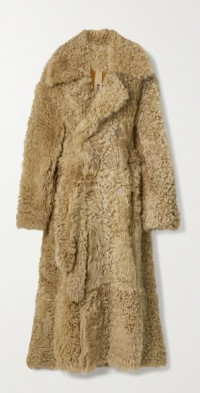 Macy oversized double-breasted belted shearling coat