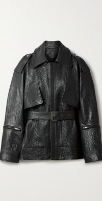 Mylo belted textured-leather jacket