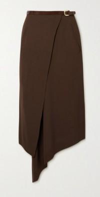 Robyn belted wool-blend twill wrap midi skirt