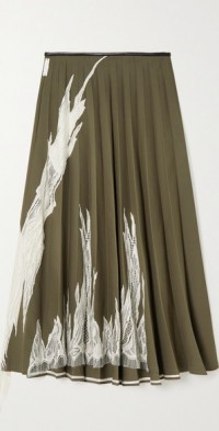 Flame lace-trimmed pleated wool-blend midi skirt