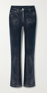 Frosted Maggie distressed coated high-rise straight-leg jeans