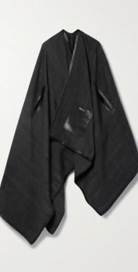 Leather-trimmed alpaca cape