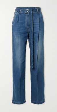 Peter belted high-rise straight-leg jeans