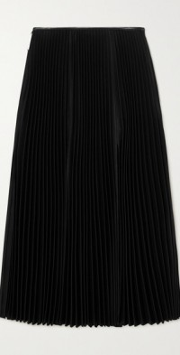 Squid leather-trimmed pleated twill midi skirt