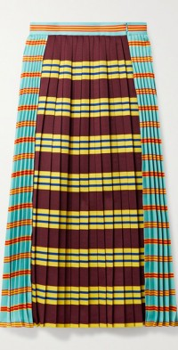 Pleated striped gabardine midi skirt