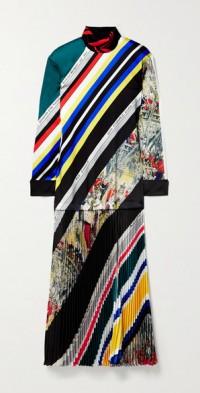 Printed plissé-twill turtleneck maxi dress