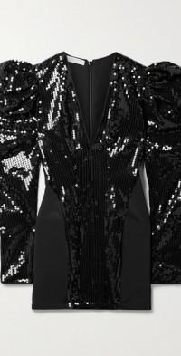 Sequined stretch-mesh mini dress