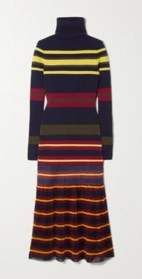 Striped pleated wool and chiffon midi dress
