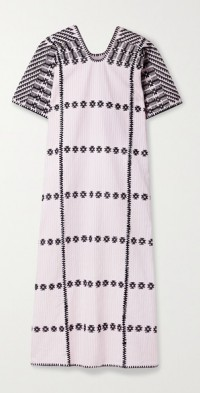 + NET SUSTAIN embroidered striped cotton huipil