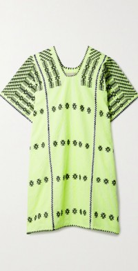 + NET SUSTAIN embroidered striped neon cotton huipil