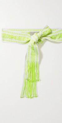 + NET SUSTAIN fringed cotton-blend jacquard belt