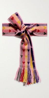 + NET SUSTAIN fringed cotton-jacquard belt