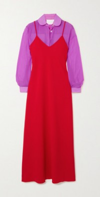 Alaya crepe de chine and chiffon dress and shirt set