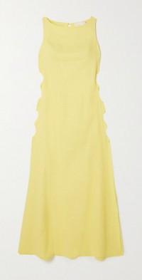 Cutout linen-blend maxi dress