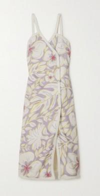 Floral-print cotton-terry wrap midi dress